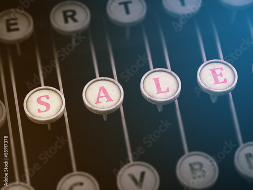 Vintage typewriter with Sale button 3D