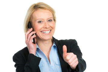 erfolgreiche geschäftsfrau am telefon