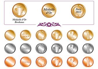 Médailles concours vin