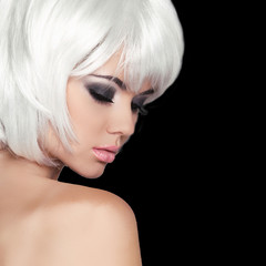 Fashion Beauty Portrait Woman. White Short Hair. Isolated on Bla