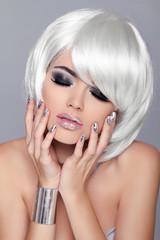 Enjoyment. Fashion Beauty Portrait Woman. White Short Hair. Sexy