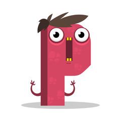 Letter P monster. Vectorial illustration