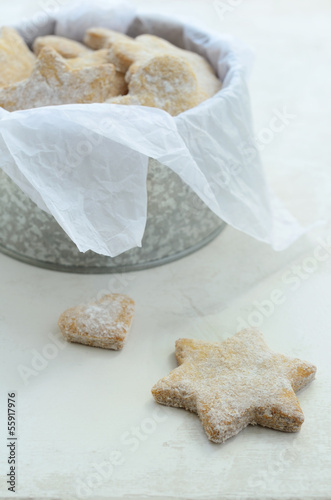 Star and heart shaped homemade ginger cookies