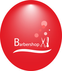red round background for hair salon with barbershop tools