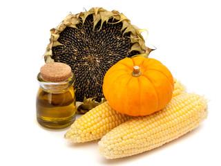 Sunflower, sunflower oil, corn and pumpkins