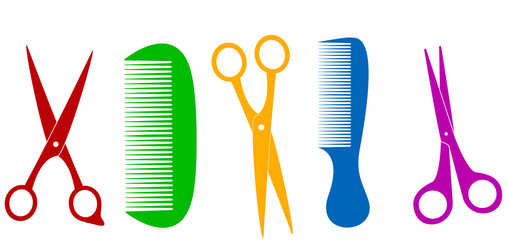 colorful isolated scissors and comb - barber tools