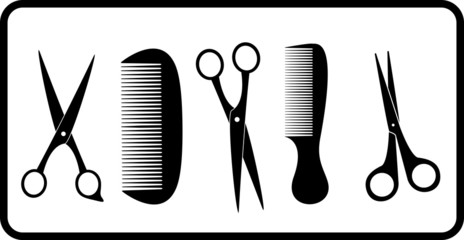 black isolated scissors and comb silhouette