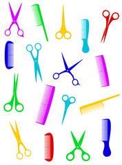 background with isolated colorful scissors and comb