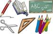school objects cartoon illustration set