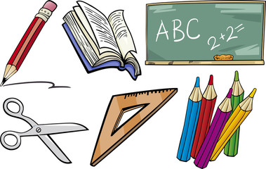 school objects cartoon illustration set