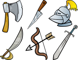 old weapons objects cartoon illustration set