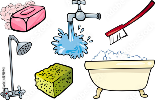 hygiene objects cartoon illustration set