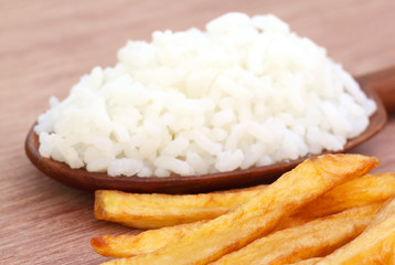 French fry with fresh rice