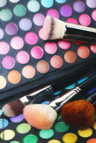 Eye shadows and makeup brushes