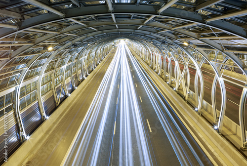 Leinwanddruck Bild Modern tunnel and traffic