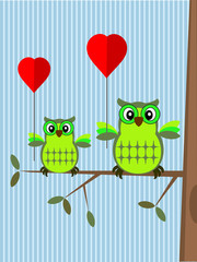 Valentine card with owls.