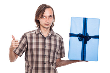 Serious man with big present
