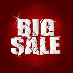 big sale  inscription broken with red background