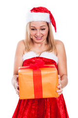 Surprised Christmas woman with present