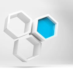 White honeycomb structure and one blue segment