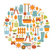 round card with gardening design elements - 55921959