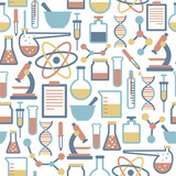 seamless pattern with flat science icons
