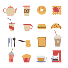 set of flat cafe design elements