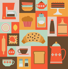 card with flat kitchen items