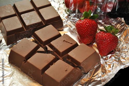 Fresh Strawberries and Chocolate