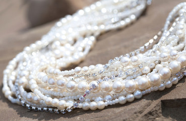 Necklace with large pearls and pheonites, some pearls in focus s