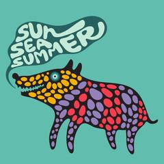 Сolorful dog with sun sea summer banner.