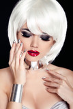 Red Lips. Blond woman with White Short Hair Isolated on Black Ba