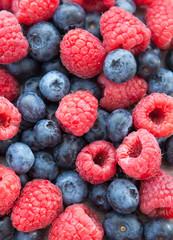 Fresh blueberries and raspberries
