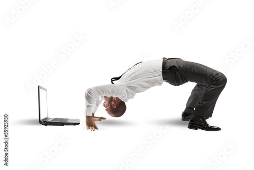 Acrobatic businessman