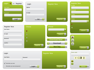 Various green website form set