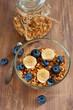 Healthy breakfast with granola and fruits