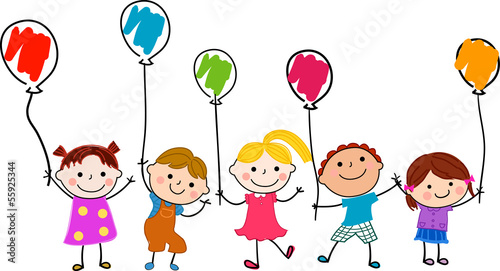 Children and balloon