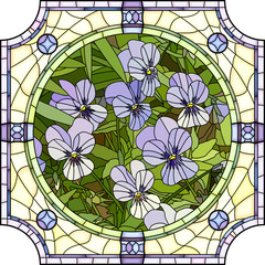 Vector illustration of flower purple pansies.