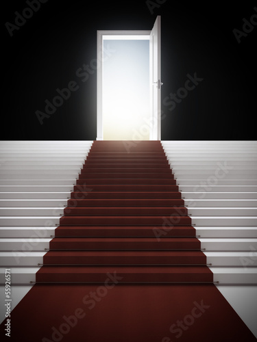 Fotobehang Licht, schaduw Stair with illuminated door