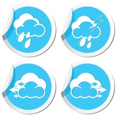 Weather forecast, rain and wind icons set