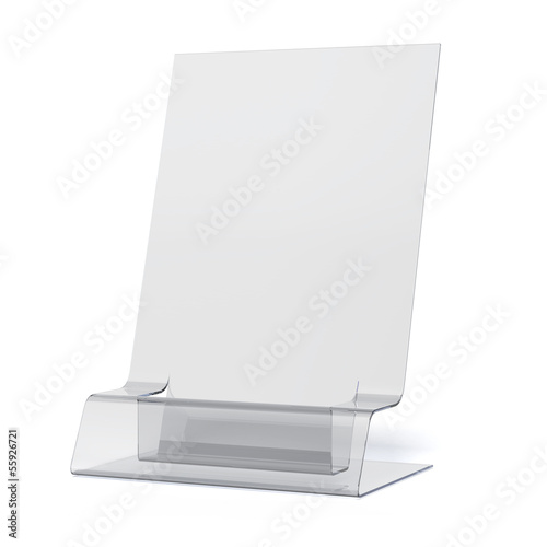 empty transparent holder for leaflets