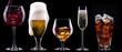 alcohol drinks set isolated on a black - 55927149