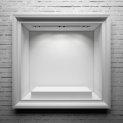 showcase with white stand and frame