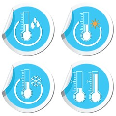 Weather forecast, thermometers icons set