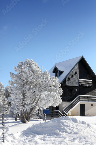 Picturesque snow covered house