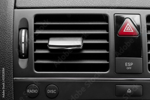 Car ventilation system with buttons and details of modern car