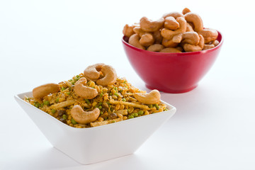 Indian snack in bowl isolated.