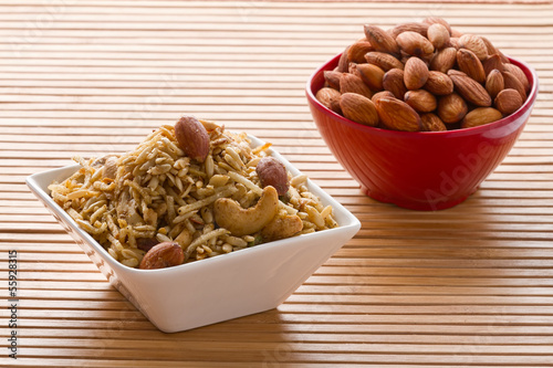 Indian snack in bowl.