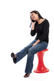 Happy Asian woman talking on a cell phone