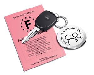 Permis de conduire, conduite accompagnée, porte-clé voiture
